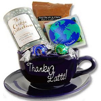 Engraved large coffee mug filled with chocolates, and gourmet cookies and coffee
