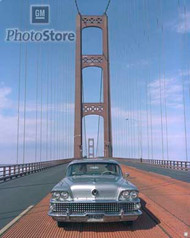 1958 Crossing the Mackinac Bridge Poster