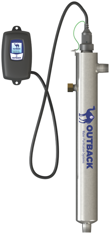 Low voltage 10 GPM ultraviolet water purification system operates off 24 volt power supply perfect for self reliance and remote locations