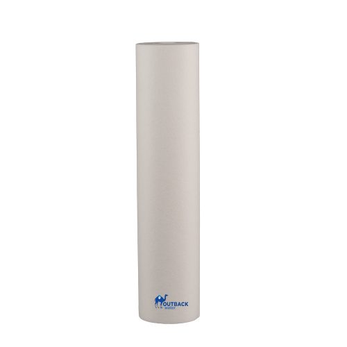 """White 20"""" x 4.5"""" 5 micron sediment pre-filter with no end caps for UV systems"""