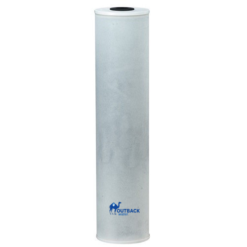 "20"" tall x 4.5""diameter carbon block UV system filter to remove organic contamination has white end caps with white felt outer wrap around carbon"