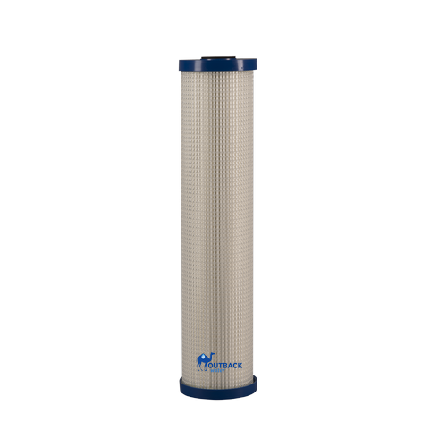 "Large wide body electro adhesion and ultra filtration water filter 20"" tall x 4.5""  diameter blue end caps with white pleated body excellent for removing bacteria, cysts and virus"