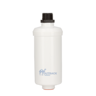 Mini Outback gravity flow carbon based contaminate removal water filter with male threads for ease of installation