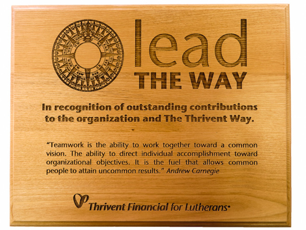 Lead The Way Engraved Red Alder Plaque