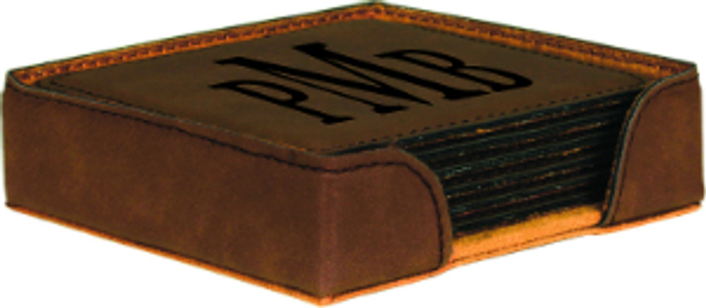 This dark brown coaster with black engraving has fantastic contrast only equaled by our rawhide coaster