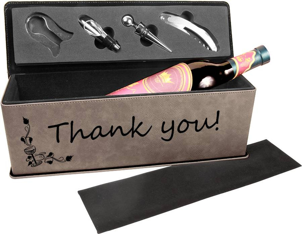 Our grey wine box provides a subtle but match anything gift that provides a great canvas for your message