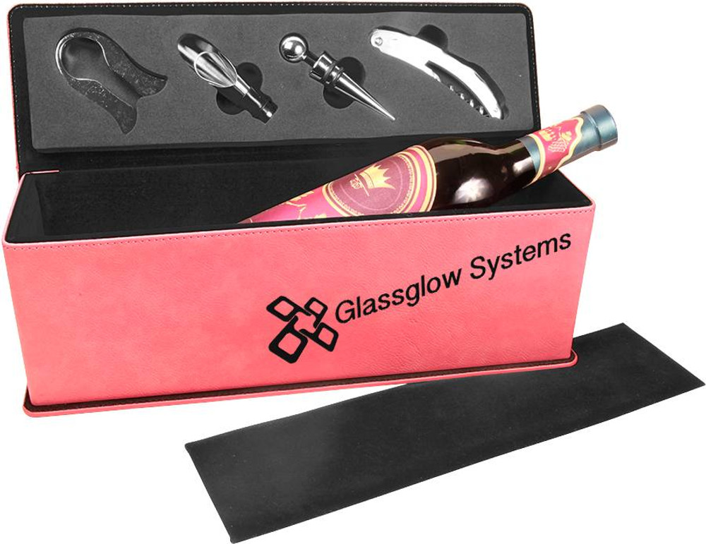Our pink leatherette wine box makes a fantastic bridal gift for your princess.