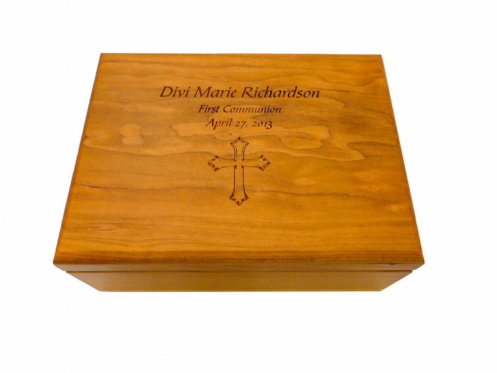 A custom laser engraved wood box can make a fantastic first communion gift.