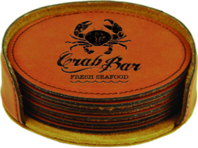Custom Leatherette Coaster set in Rawhide with a seafood restaurant logo.