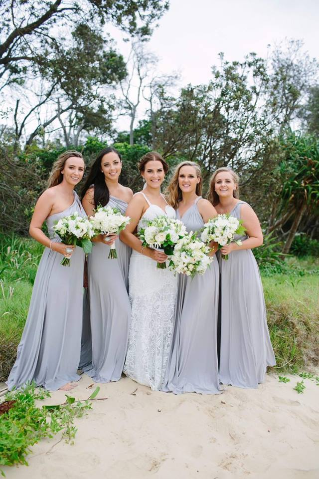 What a simply stunning group. Bianca chose to dress her girls in our Silver Convertible Wrap Maxis for her wedding at Aanuka Beach Resort in Coffs Harbour recently.