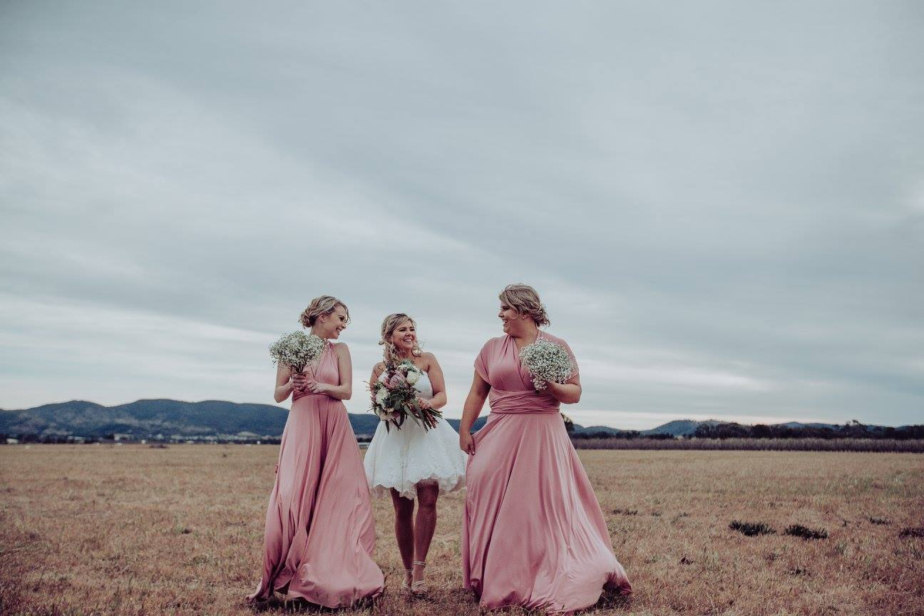 Kaleigh dressed her gorgeous bridesmaids in our Dusty Pink Convertible Dresses for her Sept wedding in Mudgee NSW. We love Kaleigh's choice of short frock what a breath of fresh air.