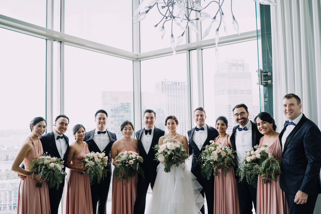 What a gorgeous bridal party. Monica chose to dress her bride tribe in our Dusty Pink Convertible Maxi Dresses for her recent wedding at The Grounds of Alexandria.