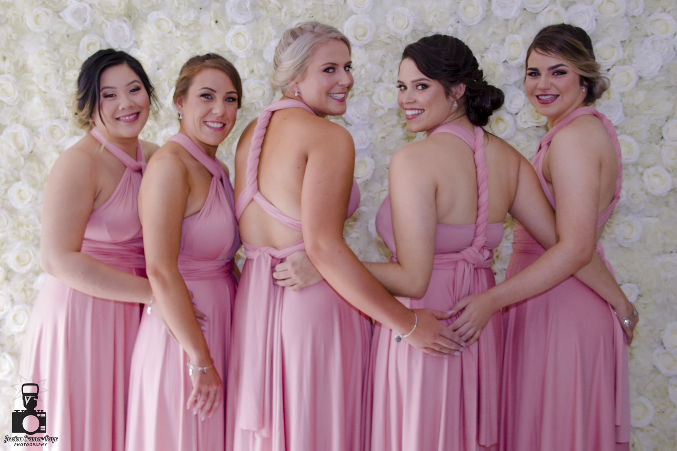 My and her super stunning bride tribe wearing our Dusty Pink Convertible Dresses for her wedding at Historic Eschol Park House.