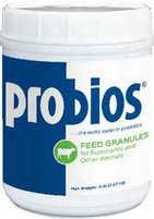 Probios® Feed Granules  Probios® Feed Granules contain essential nutrients and help promote gastrointestinal health. This formula is a great source of live, naturally occurring microorganisms to assist in maintaining normal digestive function during times of stress from illness, weaning, or diet changes. Features:  Improves feed conversion Can help increase growth Stimulates appetite Item Specifications:  Guarantee:  Lactic Acid Bacteria* not less than 10 million CFU** / g  *Enterococcus faecium, Lactobacillus acidophilus, Lactobacillus casei, Lactobacillus plantarum, Other  ** Colony Forming Units  Ingredients:  Calcium Carbonate, Sodium Silico Aluminate, Dried Enterococcus Faecium Fermentation Product, Dried Lactobacillus Acidophilus Fermentation Product, Dried Lactobacillus Casei Fermentation Product, and Dried Lactobacillus Plantarum Fermentation Product.  Directions for Use:  Use on Horses, Beef Cattle, Dairy Cattle, Swine, Sheep, and Goats See Product Label for Feeding Directions