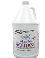 Aloe-N-Oatmeal is an excellent cleansing shampoo concentrate yet gentle enough for daily use.  For use on horses, cattle, llamas, sheep, goats, dogs, cats, ferrets and rabbits.  Directions:  Add one ounce in a bucket and fill with warm water. Wash animal completely and rinse well.
