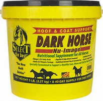 Dark Horse Nu-Image is specially formulated to enhance and shine manes, coats, and tails on black, bay and brown horse. Rich in Omega-3 and Omega-6 Fatty Acids, key Amino Acids, essential B- Vitamins including a biotin, properly balanced and Copper as well as dark pigment enhancing ingredients of Kelp and Paprika. Helps prevent that washed out reddish – orange coat, as well as bring out the essence in your horses natural color by promoting a rich dark shine for your dark horse.  Features & Benefits:  Balanced Profile of Omega-3 and -6 Fatty Acids Key Amino Acids – Lysine and Methionine B-Vitamin Package with High Biotin and Vitamin B6 Balanced Supply of Copper and Zinc Paprika and Kelp for a Dark Rich Coat, Mane, and Tail
