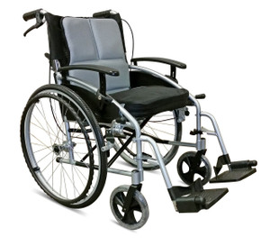 "Z-Tec 18"" Folding Aluminium Self Propelled Wheelchair with Attendant Handbrakes"