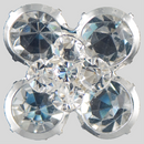 27mm  Rhinestone button, Crystal/Silver - pointed stones facing you