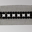 3 row Fancy Metal Set Jet Banding on Black Netting, Black Plating