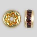 4.5mm Rhinestone Rondelle Amethyst, Gold Plated