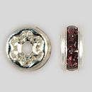 4.5mm Rhinestone Rondelle Amethyst, Silver Plated