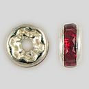 4.5mm Rhinestone Rondelle Siam Ruby, Silver Plated