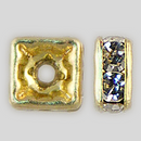 4x4mm Rhinestone Squaredelle Crystal, Gold Plated