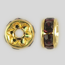 5mm Rhinestone Rondelle Amethyst, Gold Plated