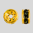 5mm Rhinestone Rondelle Black Diamond, Gold Plated
