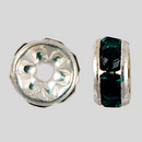 5mm Rhinestone Rondelle Emerald, Silver Plated