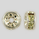 5mm Rhinestone Rondelle Jonquil, Silver Plated