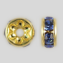 5mm Rhinestone Rondelle Sapphire, Gold Plated