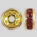 5mm Rhinestone Rondelle Siam Ruby, Gold Plated