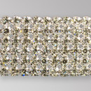 6-row Machine Cut Metal Banding Crystal, Silver Plated on White Netting without netting on Sides