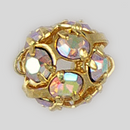 6mm Rhinestone Ball Crystal AB, Gold Plated