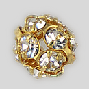 6mm Rhinestone Ball Crystal, Gold Plated