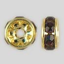 6mm Rhinestone Rondelle Amethyst, Gold Plated