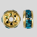 6mm Rhinestone Rondelle Aquamarine, Gold Plated