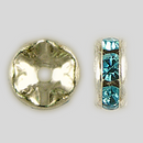 6mm Rhinestone Rondelle Aquamarine, Silver Plated