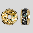6mm Rhinestone Rondelle Black Diamond, Gold Plated