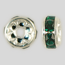 6mm Rhinestone Rondelle Emerald, Silver Plated