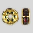 6mm Rhinestone Rondelle Garnet, Gold Plated