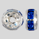 6mm Rhinestone Rondelle Sapphire, Silver Plated