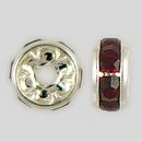 6mm Rhinestone Rondelle Siam Ruby, Silver Plated