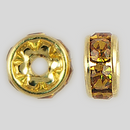6mm Rhinestone Rondelle Topaz, Gold Plated