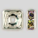 6x6mm Rhinestone Squaredelle Crystal AB, Silver Plated