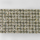 8-row Machine Cut Metal Banding Crystal, Silver Plated on White Netting without netting on Sides