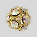 8mm Rhinestone Ball Crystal AB, Gold Plated