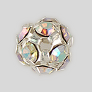 8mm Rhinestone Ball Crystal AB, Silver Plated