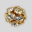 8mm Rhinestone Ball Crystal, Gold Plated